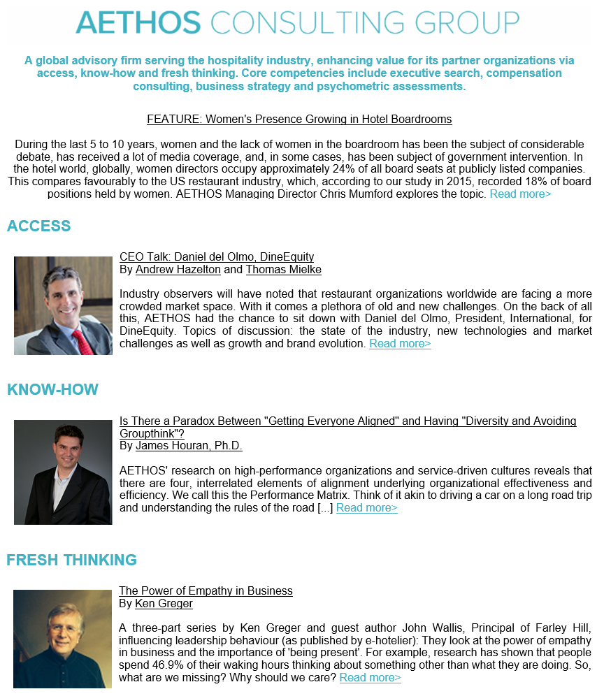 NEWSLETTER – AETHOS Consulting Group